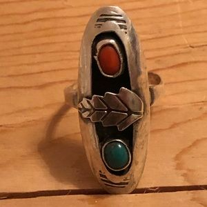 Old Pawn Sterling Coral Turquoise Ring